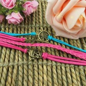 Handmade braid leather bracelet,Cro..