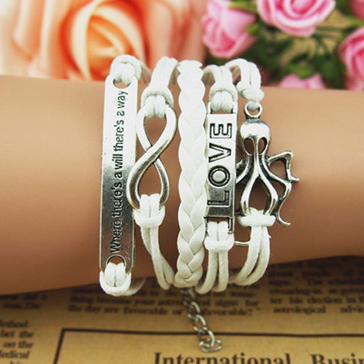 Unique Bracelet Motto Bracelet Love Cross Charm Bracelet, Infinity Bracelet, White Korean Wax Cords&Braid Leather Bracelet Style,wholesale
