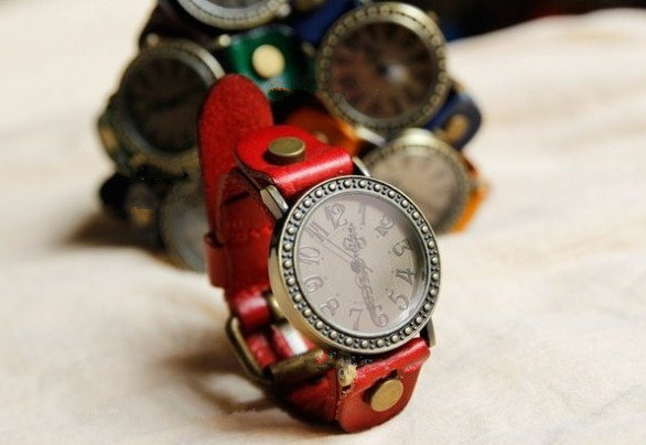 6 Colors wrist watch,leather wrist watch, simple leather band wrist watch, leather rivet watch,vintage watch,handmade wirst watch -B22