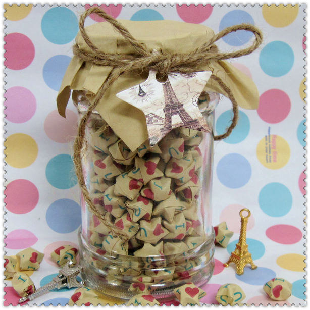 199Count Lucky Origami Paper Stars In Glass Red Heart Kawaii Cute Gift For Her