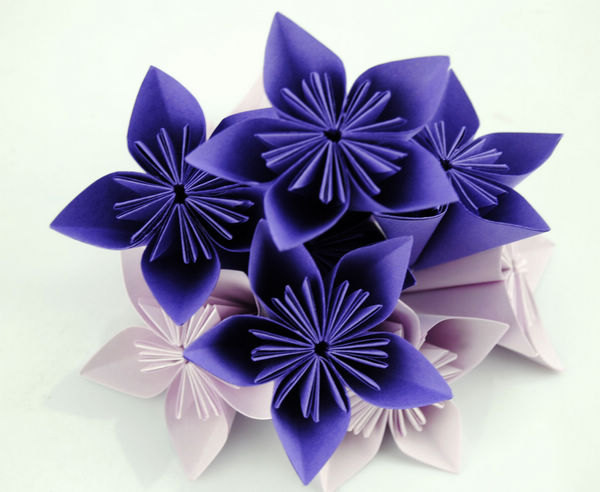 Handmade Paper Origami Flowers Purple And Lavender 20pcs Flowers