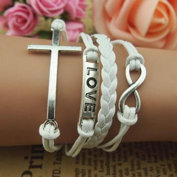 Handmade White Bracelet,Infinity Bracelet Cross Love Bracelet, Antique Silver White Braid Leather and Wax Cords Bracelet Bridesmaid Bracelet