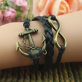 Antique Silver Anchor & Infinity Bracelet Antique Silver Bracelet Wax Cords and Black Braid Leather Bracelet,Best friendship Gift for Boy