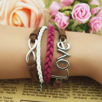 Unique Infinity Bracelet,Love Charm Bracelet--Antique Silver Charm Bracelet--Wax Cords and Imitation Leather Bracelet,Personalized Bracelet