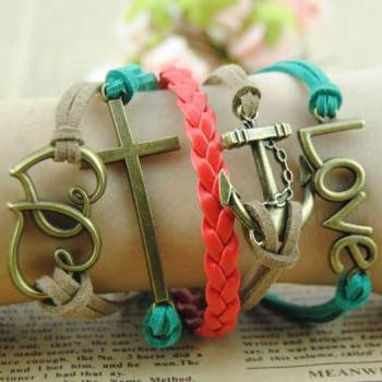 Girl Bracelet,Love bracelet, heart to heart bracelet,antique bronze bracelet,anchor bracelet Red braid leather bracelet,handmade bracelet