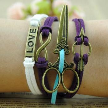 Scissors Bracelet,Infinity bracelet,Love bracelet,infinity love,Cupid Arrow Bracelet,braid leather jewelry ,christmas personalized gift