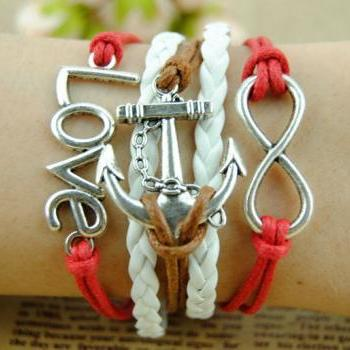 Hand Chain Anchor Bracelet Charm Bracelet Wax Love Chain Cords Bracelet Gift Bracelet Girl's Gift Red And White Braid Leather Free Gift