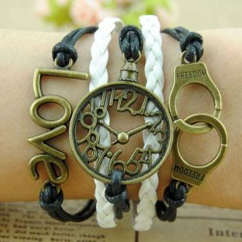 Handcuffs,Love & Time Bracelet Charm Bracelet Wax Cords Bracelet Gift bracelet Gift For Girl Braid leather Free Gift