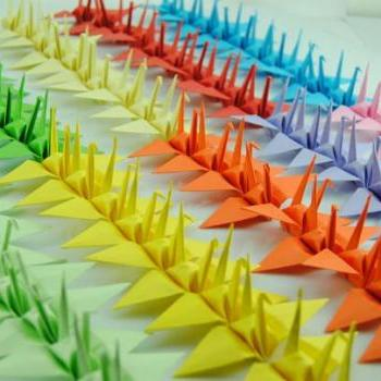 "Paper Cranes 10 x 10cm 4"" 100 Customized for Weddings Origami Christmas Ornament home decoration --- Mixed Color"