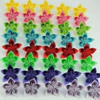 Origami Flowers - 40pcs - mixed colors bouquet decoration for wedding or home
